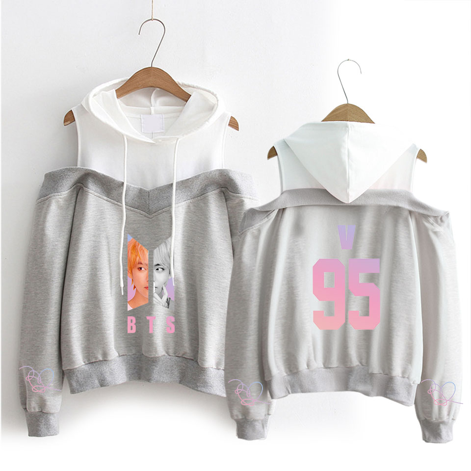 Fashion kpop Words women/'s  Boys hooded off-shoulder Hoodies sweatshirts