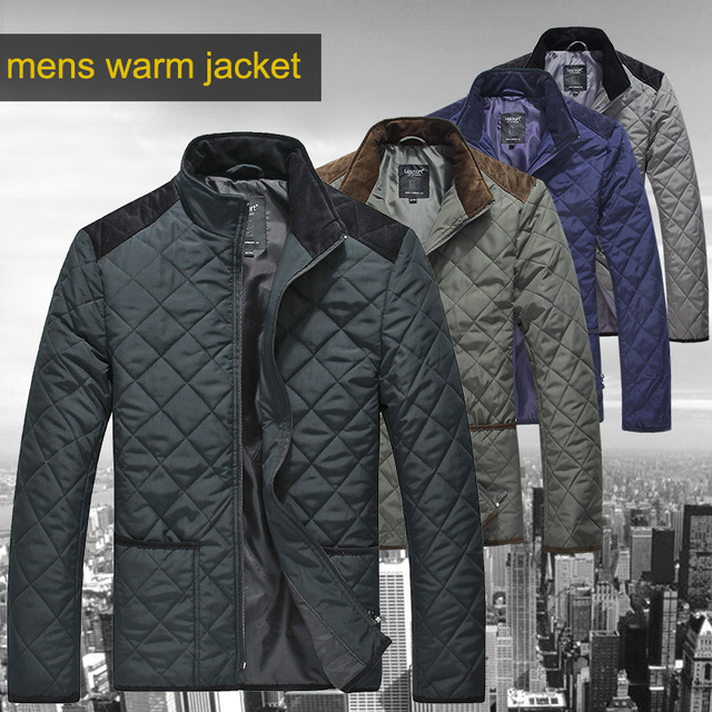 Lesmart Mens Winter Autumn Spring Cotton Padded Coat Warm Quilted Jacket Lightweigh Windproof  Patchwork Plus Big-tall Parka