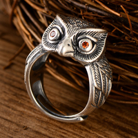 925 Sterling Silver Owl Guardian Goddess Open Rings for Men Vintage Punk Animal Adjustable Ring Thai Silver Fashion Jewelry Gift