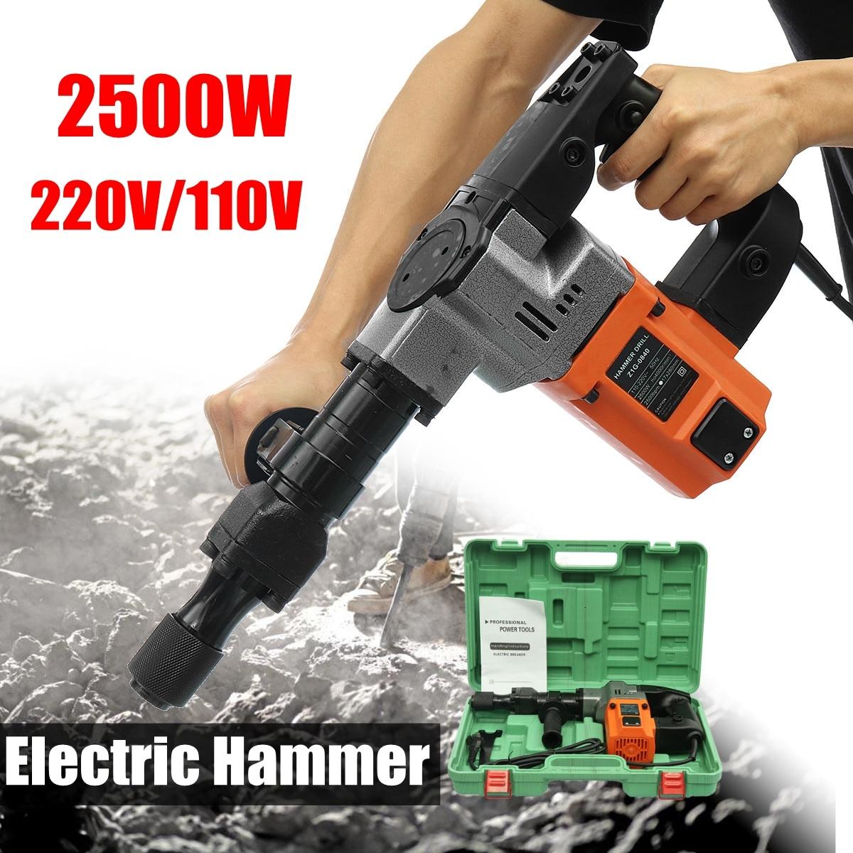 цена на 110V/220V 2500W Electric Demolition Jack Hammer Rotary Jackhammer Electric Concrete Drill 2500BPM 4000r/min