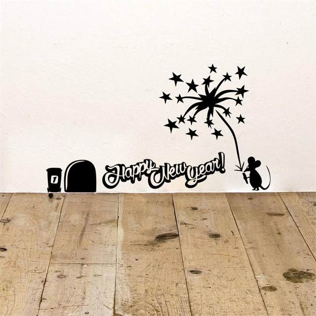 Perfect Happy New Year Wall Sticker Mouse Hole Light Fireworks Wall Decal Christmas  Decoration Quotes