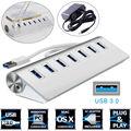 7 Порт Алюминиевый USB 3.0 HUB 5 Гбит Высокоскоростной + AC Адаптер Питания Для Портативных ПК Mac