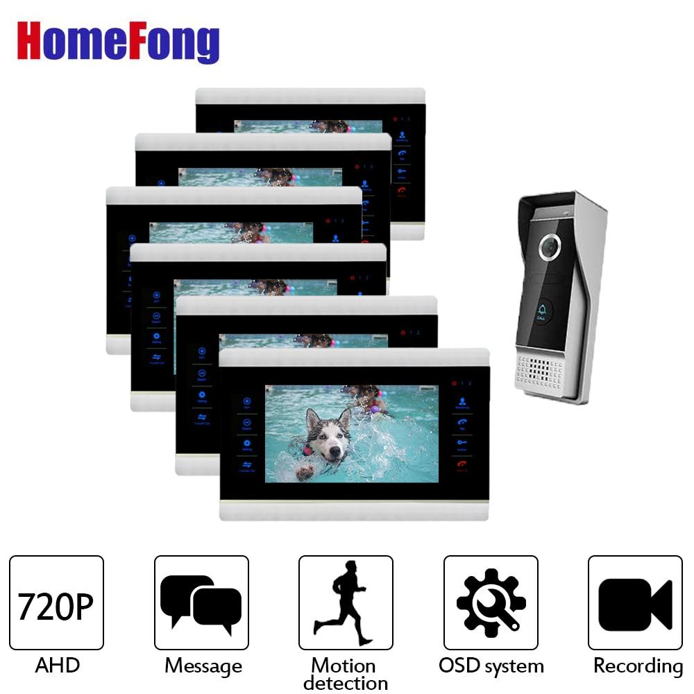 Homefong 720P  Video Door Phone Intercom System With Waterproof Doorbell Camera 6 Indoor Monitors 7 Inch Indoro Monitor Record