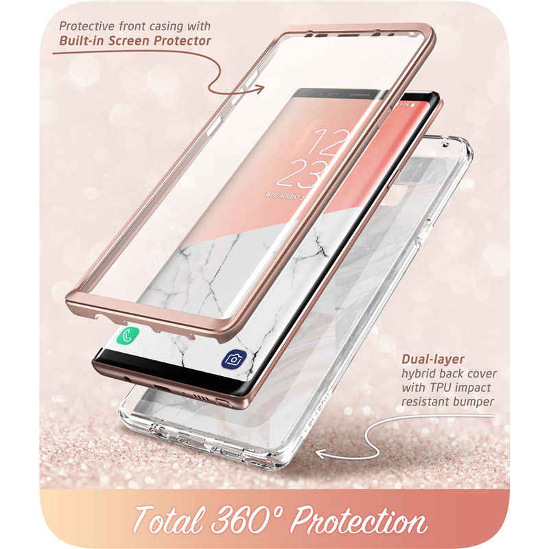 timeless design cb8e0 7ae95 For Samsung Galaxy Note 9 Case i-Blason Cosmo Full-Body Glitter Marble  Bumper Protective Cover with Built-in Screen Protector