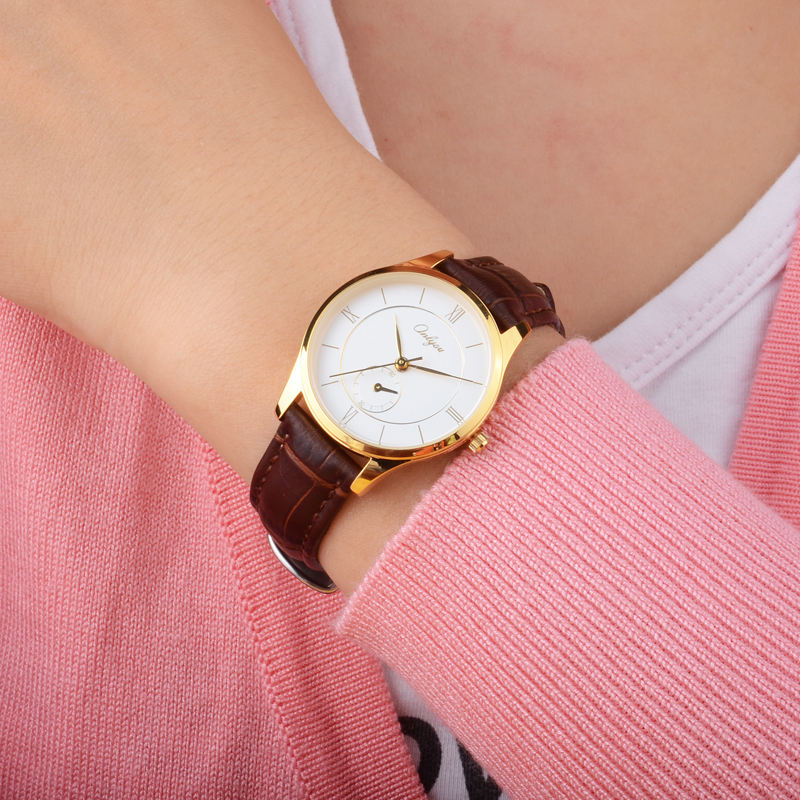 Female fashion ladies student Korean style simple belt men and women watch waterproof quartz watch with brown leather beltFemale fashion ladies student Korean style simple belt men and women watch waterproof quartz watch with brown leather belt