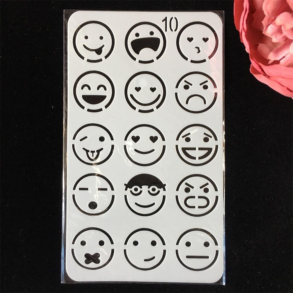 18cm Emoji Face Expression No 10 DIY Layering Stencils Painting Scrapbook Coloring Embossing Album Decorative Card Template