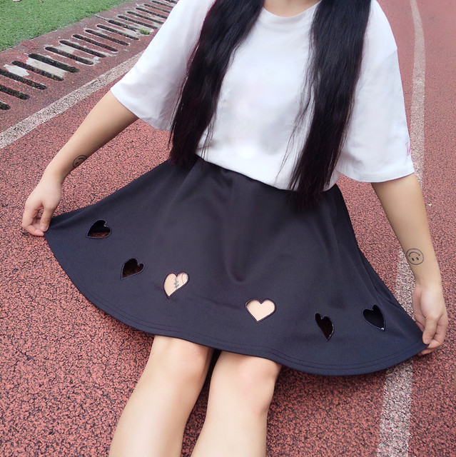 Cute Girls Harajuku Heart Hollow Out Mini Skirt With Safty Pants Macaron Colors Lolita Short Skirt Pink Purple Black White by Neko Para