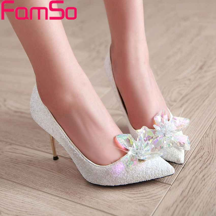 ФОТО Plus Size34-43 2017 Sexy Women  Pumps  Autumn Gold Silver Pumps Glitter Rhinestone Pumps Shoes Pointed Toe Wedding Pumps PS2618