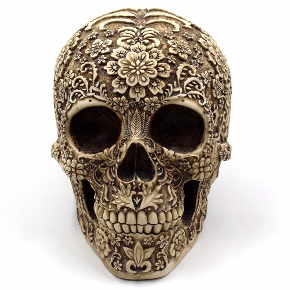 Human Skull Table Decoration Halloween Home Bar Aquarium Delicate  Flower Skull Ornaments Resin Decor Event Party Supplies mata bor amplas