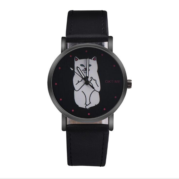2018 Women Watch Vintage Women Cute Cat Faux Leather Analog Quartz Watch Relogio Feminino Women's Watches