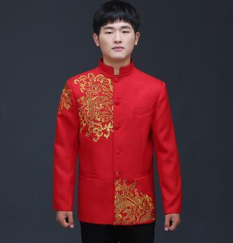 Vêtements pour hommes pratensis style chinois haut de mariage le marié dragon robe de soirée rouge haut slim rouge tang costume chinois tunique - 3