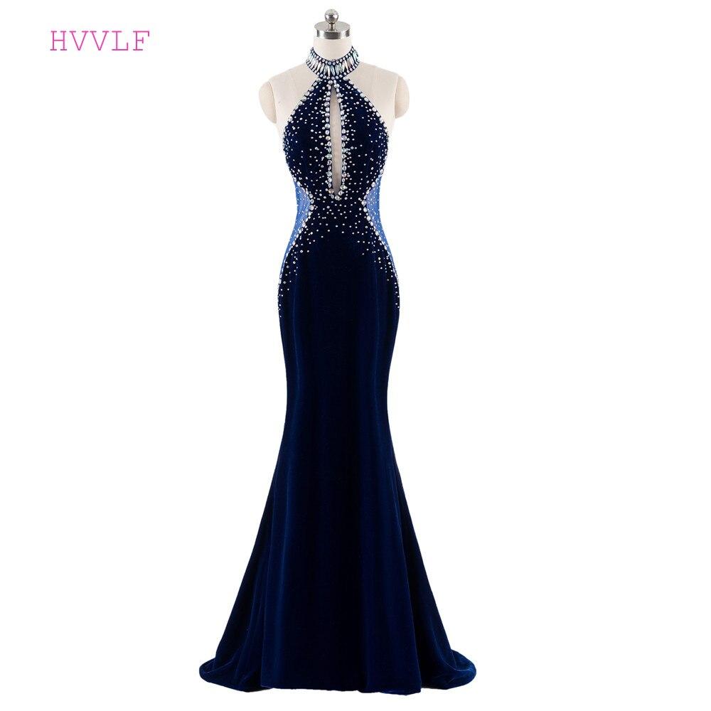 Dark Blue Evening Dresses 2019 Mermaid Halter Beaded Crystals Backless Velvet Evening Gown Prom Dress Prom Gown Robe De Soiree
