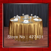 Gold 108 Round Shaped Poly Satin Table Cloth Banquet Tablecloths Table Linen Free Shipping For Wedding