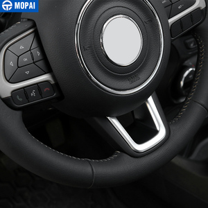Image 3 - Mopai abs車インテリアステアリングホイールの装飾カバートリムステッカージープrenegade 2015 + ジープコンパス 2017 + 車のスタイリング