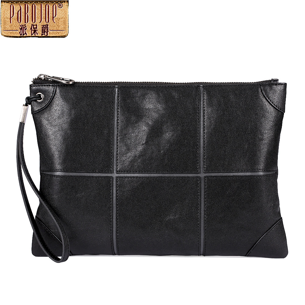 купить Pabojoe Genuine Leather Men Wallets Fashion Male Long Purse Clutch Bag Zipper Solid Men Bag по цене 4744.19 рублей
