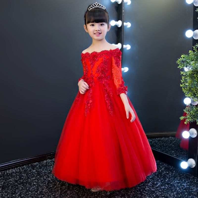 2017New Luxury Elegant Children Girls Red Color Princess Dress Kids Embroidery Flowers Lace Birthday Wedding Party Long Dress 2017 new high quality girls children white color princess dress kids baby birthday wedding party lace dress with bow knot design