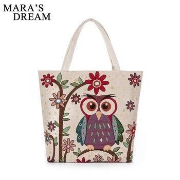 fa2ffb5318c2 Mara's Dream 2019, хит продаж, Женская Холщовая Сумка, милая сумка с принтом  совы, женская пляжная сумка, Большая вместительная сумка на плечо, сумки .