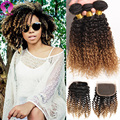 Cheap Ombre 8A Brazilian Kinky Curly Virgin Hair With Closure Deep Curly 3 Bundles With Closure Tissage Bresilienne Avec Closure