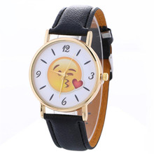 Women Watches Emoji Neutral Cute Expression Fashion Watches Leather Quartz Wrist Watches feminino femme Dropshipping 30(China)