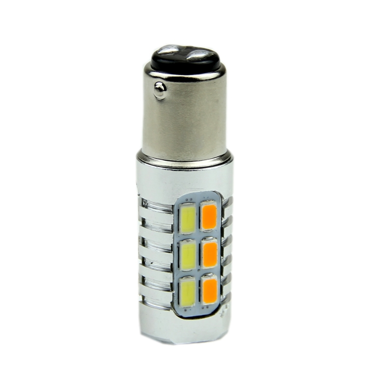 YAM 1157 50W 5630 Yellow White LED Dual Color Switchback Turn Signal Light Bulbs