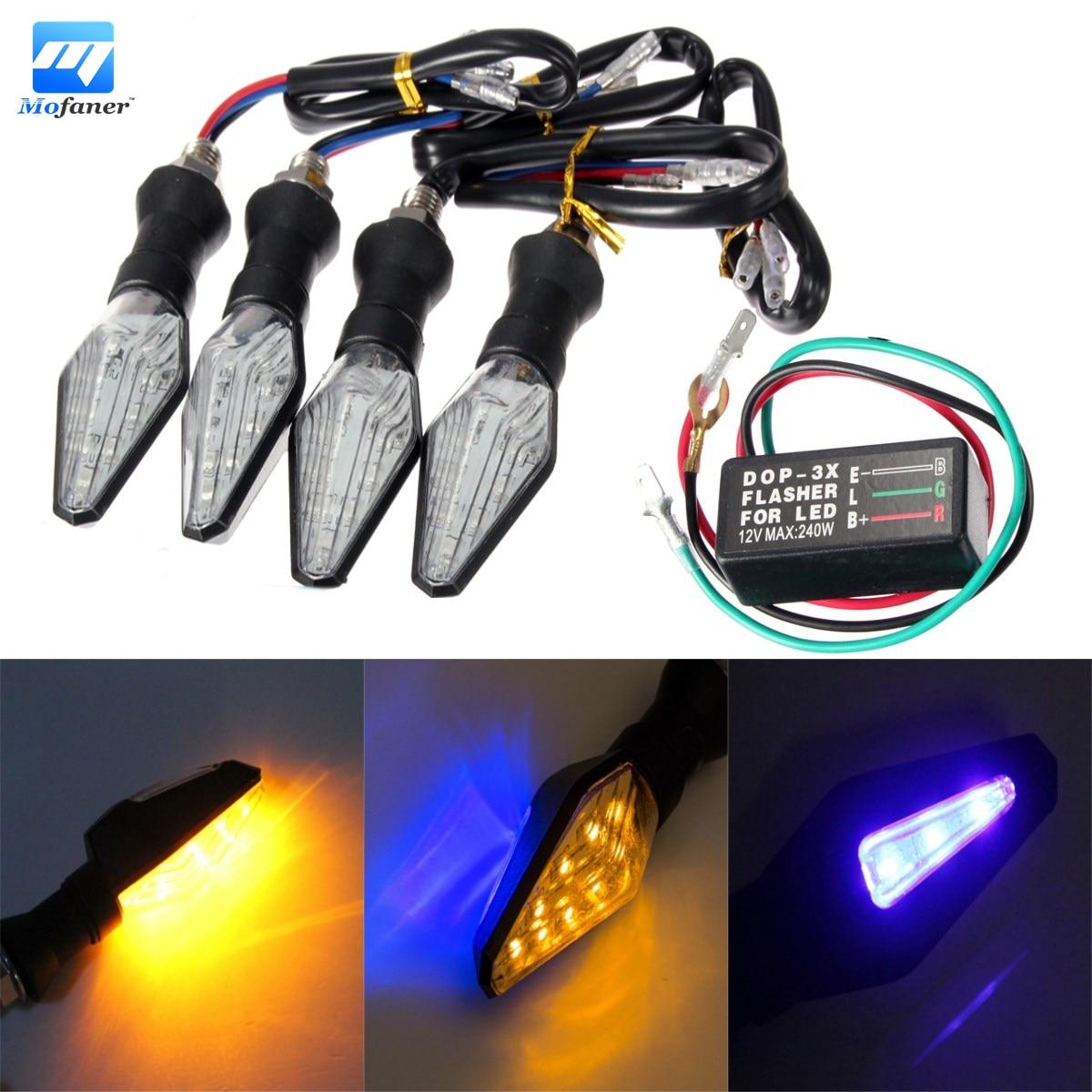 4Pcs Universal Motorcycle Amber Blue 12 LED Turn Signal Indicator Light Lamp + Flasher Relay