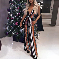 Missord 2019 Sexy Deep V Off Shoulder Multi Color Sequin Backless Striped Rompers Elegant Party Jumpsuit FT18932