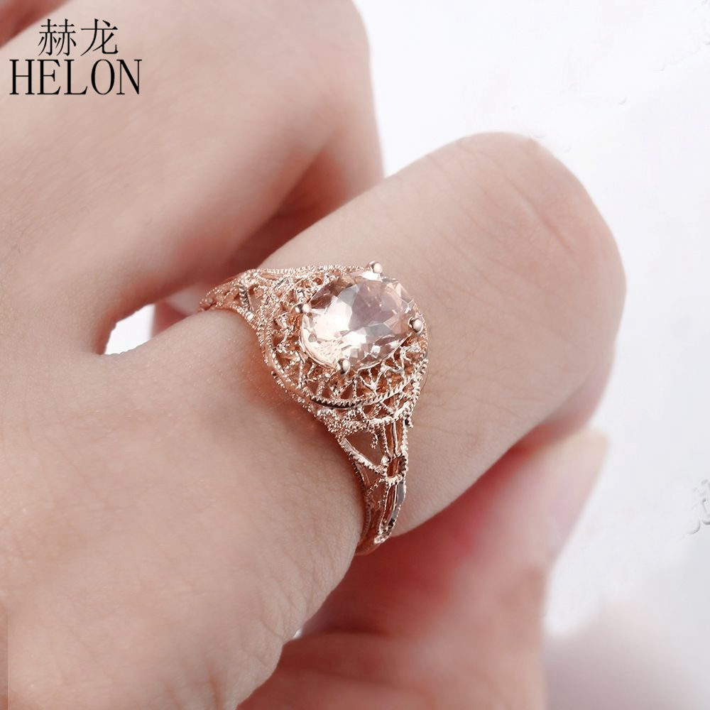 HELON Solid 14k Rose Gold 8x6mm Oval 1.3ct Morganite Art Deco ...