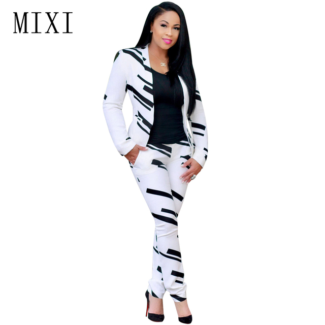 MIXI Spring Women Two Piece Set Printed Jumpsuit Casual Work Office Ladies Long Sleeve Overalls Elegant Jumpsuit Bodycon Rompers