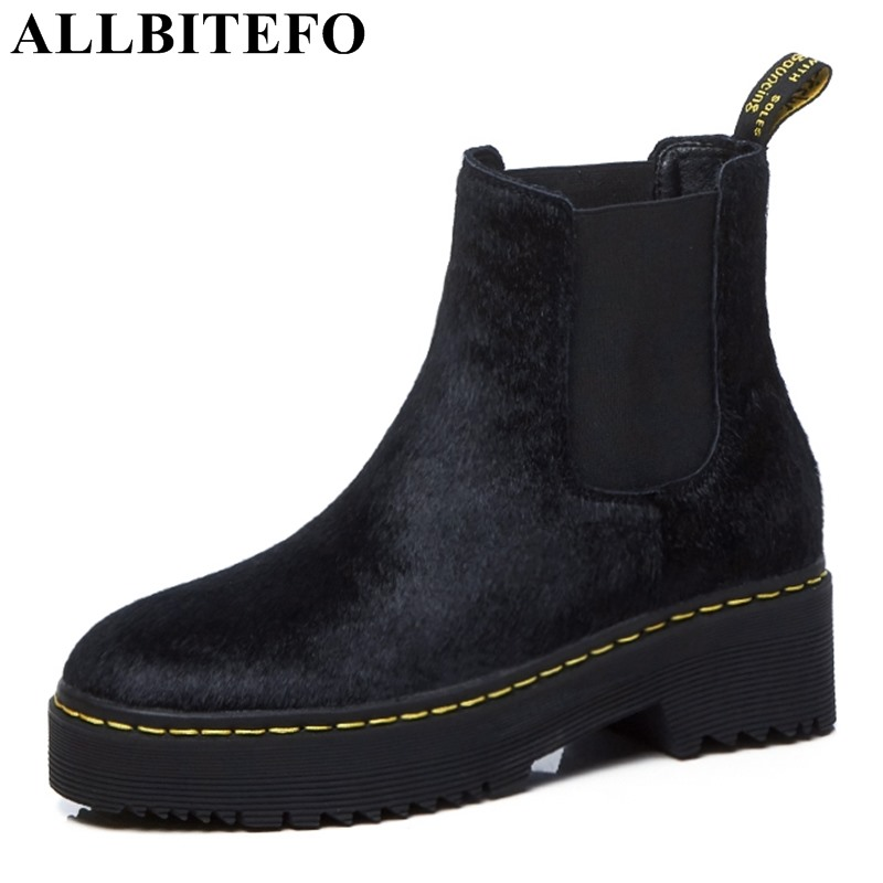 ALLBITEFO fashion brand genuine leather+Horse hair thick heel women boots high heels ankle boots winter girls motorcycle boots