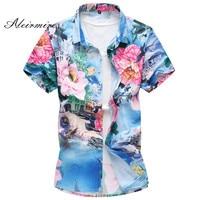 Men's Floral Hawaiian Shirts Large Size Summer Print Short Sleeve Shirt Male Thin Type Slim Fit Casual Shirt 5XL 6XL 7XL