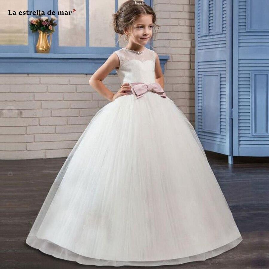 La estrella de mar custom 2019 new Scoop tulle crystal pearl a Line ivory   flower     girl     dresses   for weddings long plus size cheap