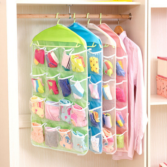 16 Grids Foldable Wardrobe Hanging Bags Socks Briefs Organizer Clothing  Hanger Closet Shoes Underpants Storage Bag