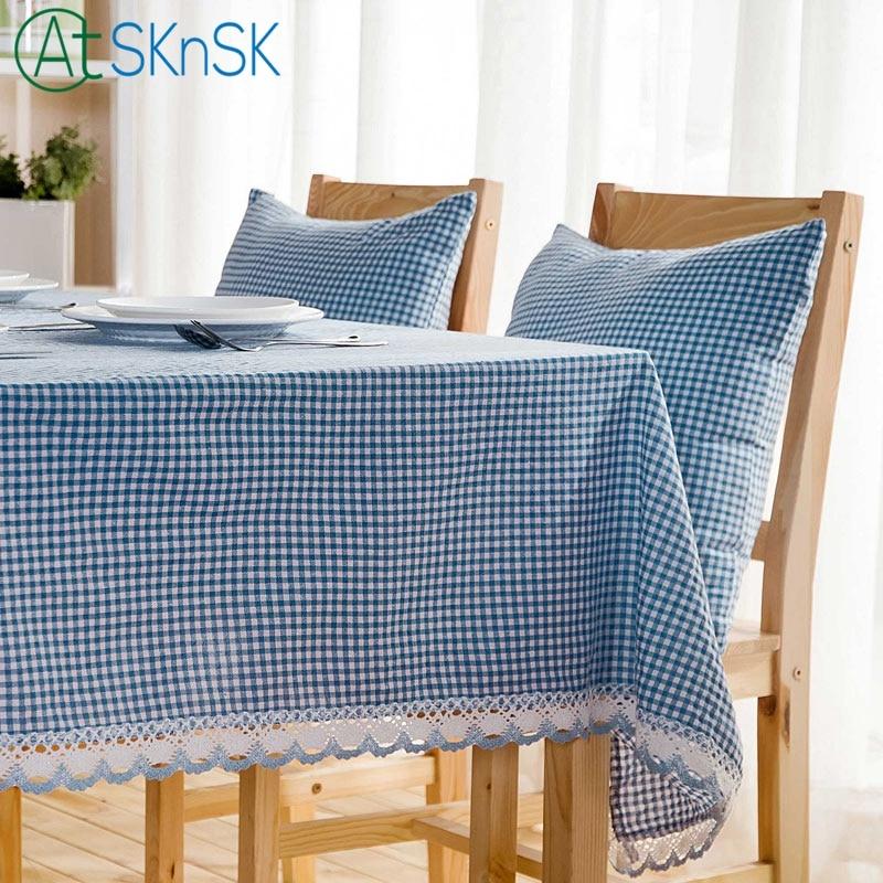 elegant dyed tablecloth coffee table cover home decoration unique design lace fabric fresh blue plaid cotton