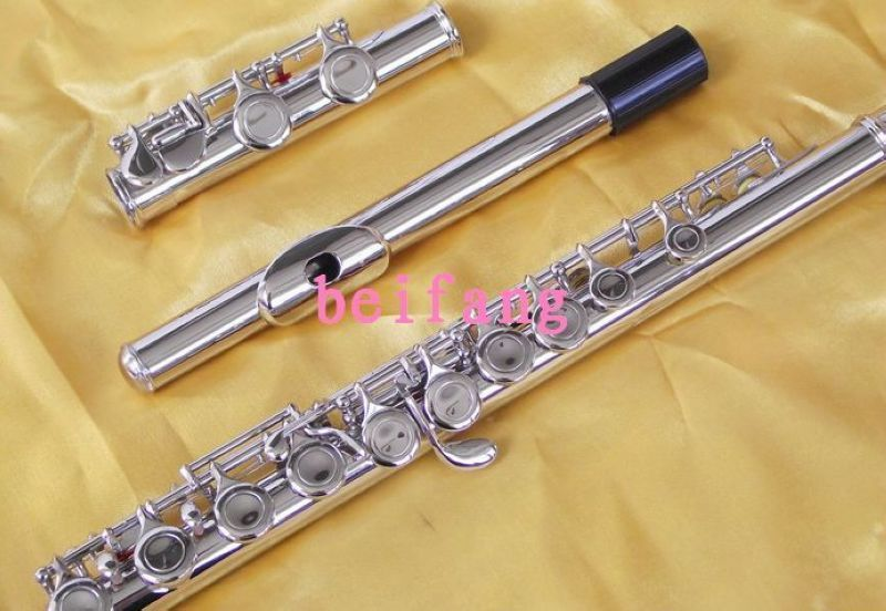 New Nickel Plated 16 closed hole flute C key +E new gold lacquer 16 closed hole flute c key e
