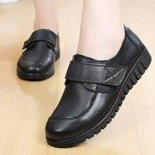 Женские повседневные туфли из натуральной кожи, туфли на плоской подошве с закругленным носком, большой размер 35 41, 2019