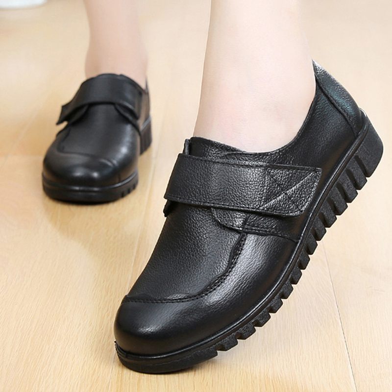 2019 fashion ladies flats casual shoes round toe big size 35 41 sewing genuine leather shoes women sapato feminino-in Women's Flats from Shoes