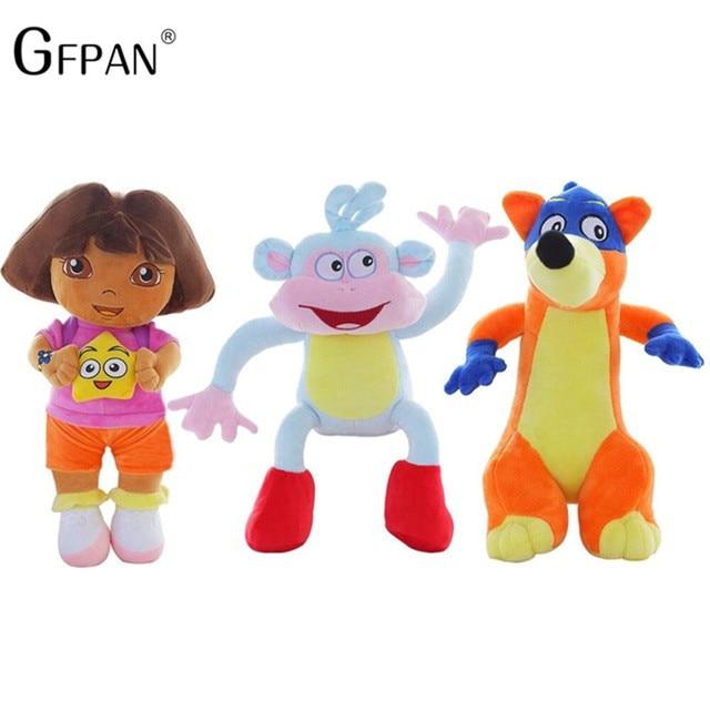 "1 pc 25 ס""מ חמוד דורה/קוף מגפיים/שועל ממולא בפלאש צעצועי הרפתקה אהבה אמיתית של דורה בובות טלוויזיה וסרטים משחק לילדים מתנה"
