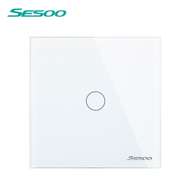 SESOO EU/UK Standard Touch Switch 1 Gang 1 Way Wall Light Touch Switch-Crystal Glass Switch Panel white smart home uk standard crystal glass panel wireless remote control 1 gang 1 way wall touch switch screen light switch ac 220v