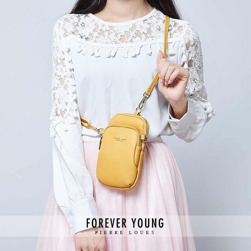 Kuning Kecil Bahu dan Dada Tas Tas untuk Wanita Kartu Ponsel Saku PU Kulit Wanita Tas Selempang Dompet Selempang Wanita tas