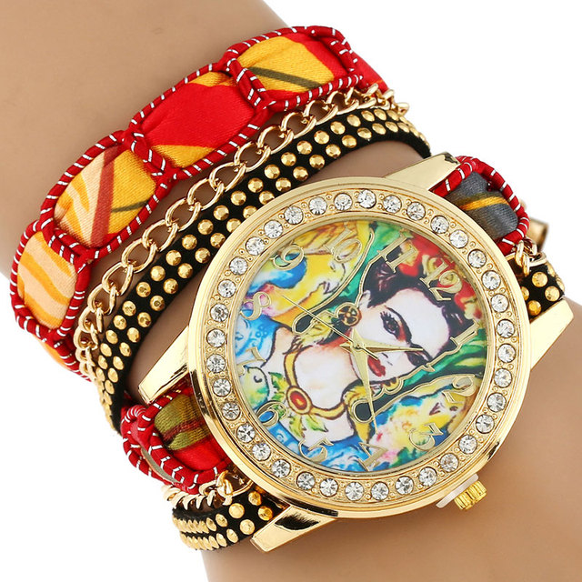Gnova Platinum TOP Large Strap BIG Dial Ethnic lace mexican Rhinestone Girl Parr