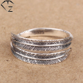 100% Real Pure 925 Sterling Silver Rings for Men Jewelry S925 Solid Thai Silver Feather Ring PR16