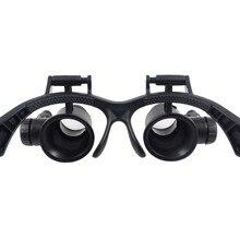 10X 15X 20X 25X подсветка с двойными светодиодами модные лупа очки линза увеличительная Лупа ювелира Инструменты для ремонта часов