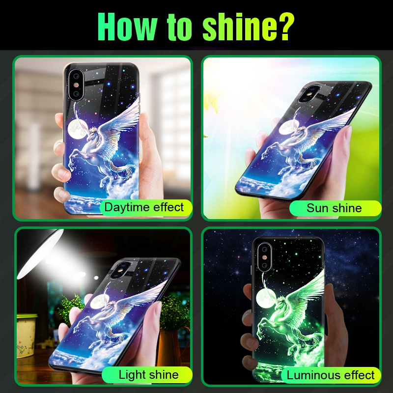Luminous Case For iPhone X XS MAX Case For iPhone 7 6 s 8 Plus X 10 Luxury PC+Tempered Glass Pattern Silicone Edge Cover (8)
