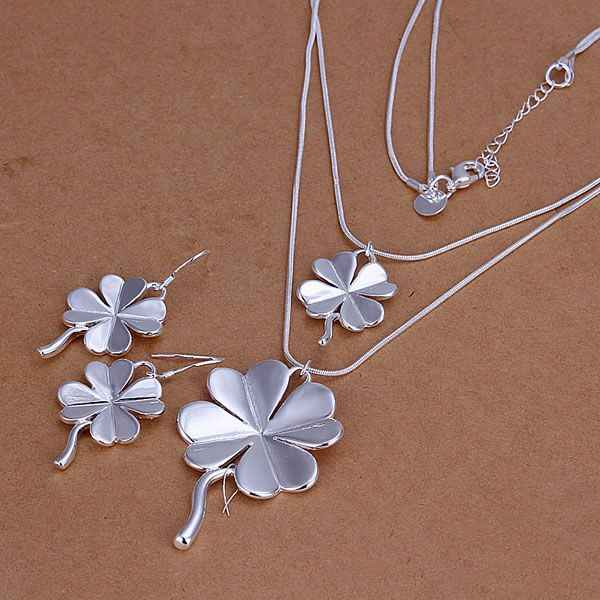 S184 Fine silver plated wholesale jewelry sets,Hot sale 925 charms free shipping fashion Four-Leaved Clover Earrings Necklace
