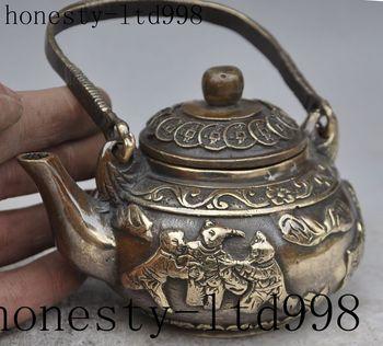 china bronze wealth money coin boy lad auspicious statue Wine Tea Pot Flagon