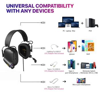 Game Headset Tactical Master - 008 Immersive Gaming Headset with Virtual 7.1 Surround Sound Game Headphones for PC PS4 Earphone 3