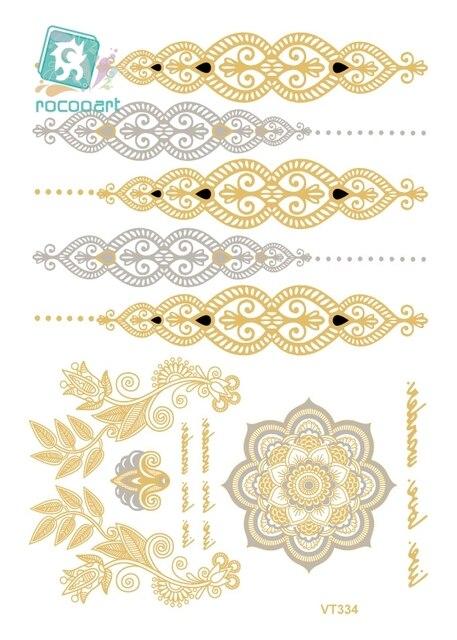 Rocooart VT334 Водонепроницаемый золото золотой большой татуировки наклейки индийская невеста татуировки блеск временные татуировки tatuajes