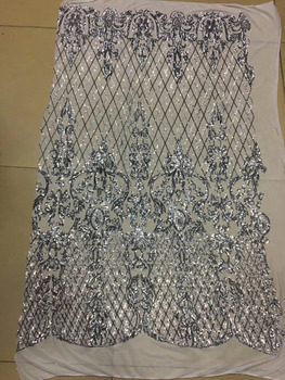 stcock bsb001# 5YARDS  silver  embroidery  african paillette  tulle mesh lace for bridal wedding/evening dress
