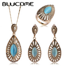 Blucome Blue Opal Jewelry Sets Wedding Bridal Rhinestone Parure Bijoux Femme Vintage Pendant Dangle Earring Ring Necklace Set
