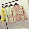 New Spring Autumn Ladies Sweet Jacquard Weave Round Neck Cute Knitwear Jumper Pullover Female Base Flower Sweater Coat Jersey